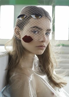 Kristine Froseth wearing funny #birdcage veil by David Dunan For Stylist France 2nd April 2015