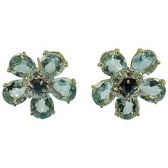 Aquamarine Sapphire Diamond Floral Earclip Earrings | From a unique collection of vintage clip-on earrings at https://www.1stdibs.com/jewelry/earrings/clip-on-earrings/