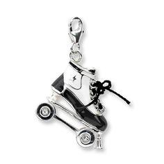 Roller Skate Charm Swarovski Elements/Enamel Sterling Silver