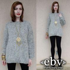 #Vintage #80s Grey Gold Oversized Metallic #Sweater #Jumper S M L by #shopEBV http://etsy.me/16kjwGQ via @Etsy #etsy, $48.00