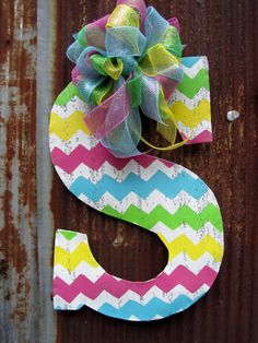 Chevron Initial Door Hanger by WiredupbyMellie on Etsy, $48.00