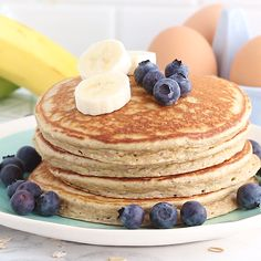 Healthy Protein Pancakes 3 Ways- these 3 recipes are easy to throw together, perfect for meal prep, and the perfect light breakfast! #breakfast #healthy #pancakes