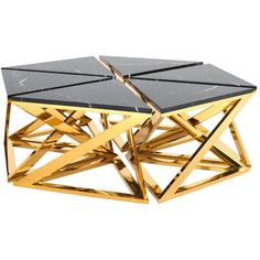 Ellipse Coffee Table Set Of Six Table In Gold Finish With Black Marble... ($5,033) ❤ liked on Polyvore featuring home, furniture, tables, accent tables, black, coffee tables, black table, stainless steel coffee table, marble top accent table and black accent table