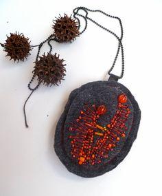 Scarlet VI fiber art felt bead embroidery necklace by Cesart64