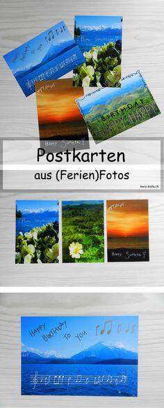 DIY Postkarten gestalten aus Fotos: Ferienfotos werden in Zukunft nicht mehr auf dem Rechner vergessen gehen, sondern machen anderen eine Freude. So einfach kannst du Postkarten selber gestalten im Handlettering Stil.