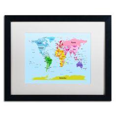 'World Map for Kids' by Michael Tompsett Framed Graphic Art