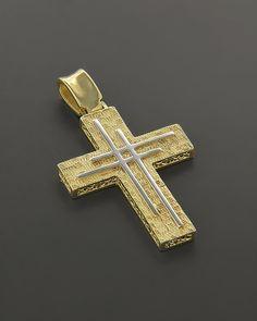Σταυρός βάπτισης Χρυσός & Λευκόχρυσος Κ14 Christian Symbols, Holy Cross, Cross Jewelry, Judaism, Cross Pendant, Altar, Metal Working, Diamond Jewelry, Christianity