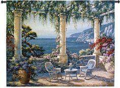 Mediterranean Terrace Wall Tapestry
