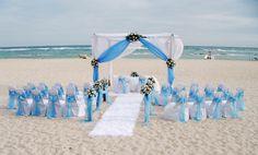 Montaje en azul boda playera, Coral Costa Caribe