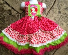 STRAWBERRY Shortcake Beauty--Boutique Twirl Knot Princess Dress--6m to 8y. $68.00, via Etsy.