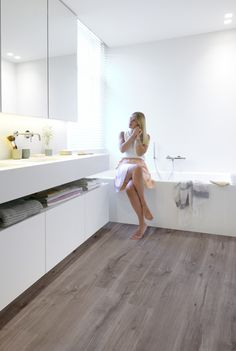 Bathroom ft Riviera - Silver Grey waterproof laminate flooring by BerryAlloc…