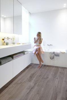 Bathroom ft Riviera - Silver Grey waterproof laminate flooring by BerryAlloc…