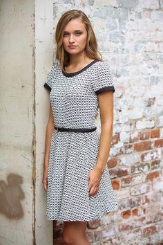 gilt   gossamer - Black/Ivory Short Sleeve Fit and Flare Dress, $42.00 (http://www.giltandgossamer.com/black-ivory-short-sleeve-fit-and-flare-dress/)