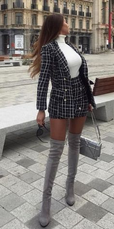 Women's Blazer Outfit Ideas To Conquer Everything - Hi Giggle! 25 Women's Blazer Outfit Ideas To Conquer Everything - Hi Giggle!,Tweed Black and cream tweed blazer, mini skirt Blazer Outfits Casual, Blazer Outfits For Women, Blazer Fashion, Blazers For Women, Skirt Outfits, Trendy Outfits, Cool Outfits, Fashion Outfits, Women Blazer