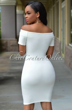 White Off-the-shoulder Dress Sexy Dresses, Fashion Dresses, Prom Dresses, Beautiful Black Women, Beautiful Gowns, White Off Shoulder, Shoulder Dress, Chic Couture Online, Evening Outfits