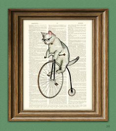 Atticus the Hipster Cat on a Penny Farthing bicycle dictionary page book art print. $6.99, via Etsy collageOrama
