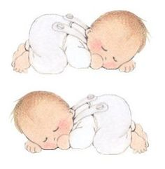 Baby Illustration, Graphic Design Illustration, Twin Babies, Cute Babies, Images Murales, Scrapbook Bebe, Baby Shawer, Belly Painting, Baby Drawing