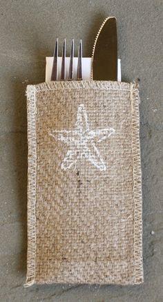 Starfish Burlap Silverware Pouch - Set of 8
