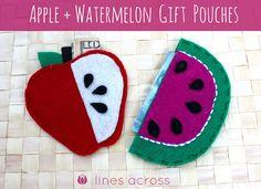 Apple + Watermelon Gift Pouches {Line Across}