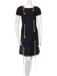 Chanel Dress (Pre-owned Black Silk & Wool with Detachable Gold Chains and CC Logo Designer Dress)