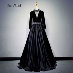JaneVini 2018 Black Satin Beaded Long Bridesmaid Dresses for Weddings  V-Neck Illusion Floor Length Abiti Da Damigella D onore 1e258b69963a