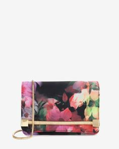 Cascading floral clutch bag