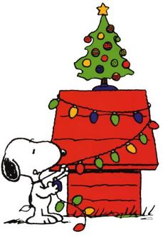 Snoopy Decorating His Dog House With Christmas Lights And A Decorated Evergreen Tree On Top