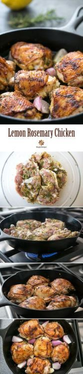 Skillet Lemon Rosemary Chicken - EASY 1-pot! Chicken thighs rubbed and marinated with lemon rosemary garlic then seared in skillet and finished in oven.
