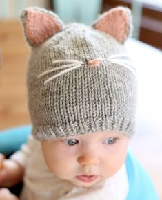 Kitty Cat Baby cappello maglia modello modello di cappello stricken kinder einfach Baby Cat Hat KNITTING PATTERN // Cat Ear Hat Pattern // Baby Knit Hat Pattern with Cat Ears Baby Knitting Patterns, Knitting For Kids, Baby Patterns, Free Knitting, Knitting Projects, Crochet Patterns, Start Knitting, Loom Knitting, Knitting Tutorials