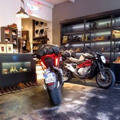 """We decided the Red Wing Shoes Store Munich needed an upgrade for its interior styling. So we've put the Italian ladies on display. • #heldthontour…"" #mvagustarivale #rivale #mvagustabrutale #brutale #brutale1090 #redwingshoes #redwingboots #redwings #redwingstore #motorcycle #motorbike #bikephotography #bikestagram #bikes #instamoto #instabike #italianbeauties"