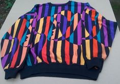 St Croix Knit Made in USA 80's Abstract Wild Colorful Opt Art Sweater XL VGC #StCroixKnits