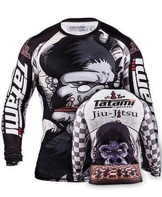 Tatami Chess Gorilla Rash Guard Another amazing rash guards by thee talented Chris Burns. The artwork depicts a Gorilla playing Jiu-Jitsu chess. Made with the usual high quality material you would exp