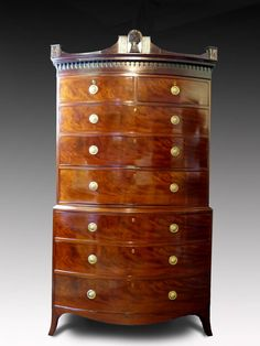 Commode / Chest Of Drawers / Dresser - Chest On Bow-Front - Retirement Sale British Hepplewhite Mahogany Low Chest Of Drawers, Large Drawers, Georgian Furniture, Antique Furniture, Antique Interior, Furniture Styles, Cool Furniture, Furniture Storage, Antique Glass