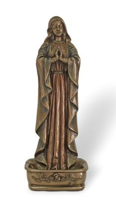 Madonna Our Lady of Grace Holy Rosary Holder or Water Font With Roses. Beautiful font for home, chapel or church. Made of Resin and finished in a rich faux cold cast bronze to give the look and feel o