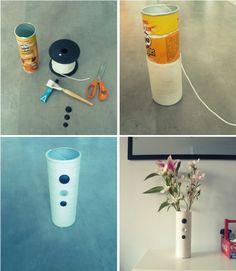 Quando finiscono le patatine perchè buttare via il tubo di Pringles? Basta una corda e tre bottoni per far nascere un bellissimo vaso.