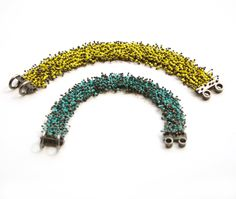 Pair of beaded bracelets by Karen Gilbert, stone beads and oxidized sterling silver. Gallery Lulo.