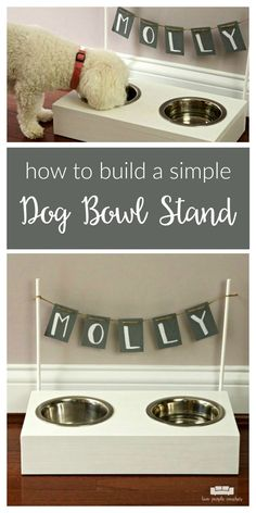 Build your own dog bowl stand. Follow this easy #diy to create a raised wooden stand to hold your dog's food and water bowls. Perfect size for a small dog! #sponsored #doglovers