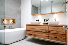 Modern bathroom design featuring timber vanity, shaving cabinet and nook. Wall tiles white and grey. Timber pieces by Bombora custom furniture - Modern Bathroom Timber Bathroom Vanities, Timber Vanity, Modern Bathroom Cabinets, Modern Bathroom Decor, Grey Bathrooms, Bathroom Layout, Bathroom Interior, Wooden Vanity, Bathroom Ideas
