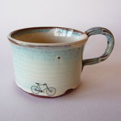 Bike Mug by JuliaSmithCeramics on Etsy. I love this mug, the shape, the glaze, the illustration! All of it! <3 <3 <3