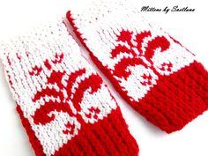 Mitaines style jacquard blanc et rouge : Mitaines, gants par creations-fait-main-divers