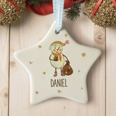 Personalised Thoughful Snowman Star Ceramic Decoration
