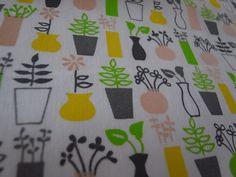 summer flower vases handprinted cotton fabric by EmilyMe