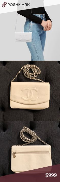 3349613ba5aa CHANEL Timeless Wallet On Chain White Caviar leather with silver-tone  hardware