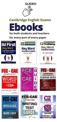 Ebooks for both students and teacher and for every part of every paper (Reading and Use of English, Writing, Listening, and Speaking). Key word transformation for b2 first, C1 Advanced and C2 Proficiency. Open cloze, Word formation , Gapped text, Speaking test, Writing test. Example essays, Examples proposal, etc, Material para aprobar el first, advanced y proficiency. b2 prüfungsvorbereitung , CAE prüfungsvorbereitung, c2 prüfungsvorbereitung.