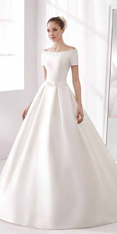 Stunning Satin Off-the-shoulder Neckline A-line Wedding Dresses - Wedding Dress Gallery Wedding Dress Cinderella, Princess Wedding Dresses, Modest Wedding Dresses, Wedding Dress Styles, Bridal Dresses, Wedding Gowns, Dresses Dresses, Party Dresses, Bateau Wedding Dress