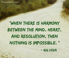 """""""When there is harmony between the mind, heart, and resolution, then nothing is impossible."""" - Rig Veda"""