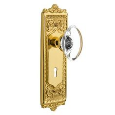 Nostalgic Warehouse Oval Clear Crystal Glass Mortise Door Knob with Egg and Dart Plate Finish: