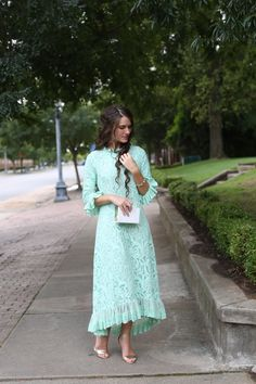 Modest Fashion | Modest Bridesmaid Dresses | Mint Lace Hamptons Dinner Dress for Weddings and Special Occasions