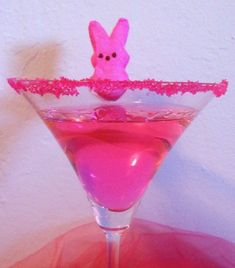 Pink Bunny PEEPS Easter Candy Cocktail or PEEPtini Recipe! By Zoe Rogers (via GalPalGreet.com)  @Melissa Squires Marion