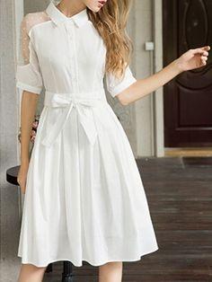 White Beaded Sheer Shoulder Bow Waist Midi Shirt Dress | Choies